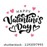 Stock vector happy valentines day typography poster with handwritten calligraphy text isolated on white 1193597995