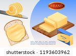 cheese or margarine block... | Shutterstock .eps vector #1193603962