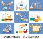 chemistry reaction banner set.... | Shutterstock .eps vector #1193604355