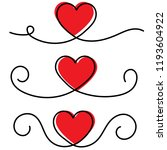 red heart with black continuous ... | Shutterstock .eps vector #1193604922