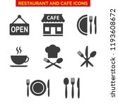 restaurant icons set on white... | Shutterstock .eps vector #1193608672
