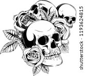 a human skulls with roses on... | Shutterstock .eps vector #1193624815