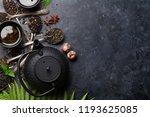 various tea and teapot. black ... | Shutterstock . vector #1193625085