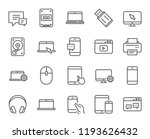 mobile devices line icons. set... | Shutterstock . vector #1193626432