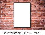 mock up white poster frame on...   Shutterstock . vector #1193629852