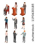 political conference icon set.... | Shutterstock .eps vector #1193630185