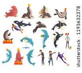 oceanarium or dolphinarium set  ... | Shutterstock .eps vector #1193632378