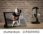football player with a black... | Shutterstock . vector #1193654452