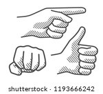 drawing hand sign 2 | Shutterstock .eps vector #1193666242