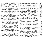 collection of handdrawn swirls... | Shutterstock .eps vector #1193670592