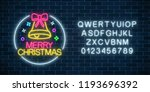 glowing neon christmas sign... | Shutterstock .eps vector #1193696392