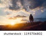 adventure traveler man with... | Shutterstock . vector #1193706802