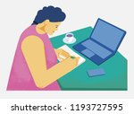 girl working at the table with... | Shutterstock .eps vector #1193727595