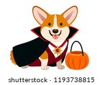corgi dog wearing vampire... | Shutterstock .eps vector #1193738815