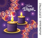 diwali candles lits with... | Shutterstock .eps vector #1193747962