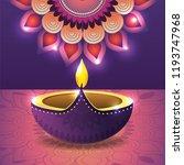 vassel lit with flower mandala... | Shutterstock .eps vector #1193747968