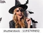 joyful european woman playfully ... | Shutterstock . vector #1193749852