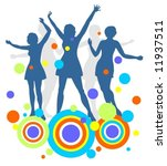 dark female dancing silhouettes ... | Shutterstock .eps vector #11937511
