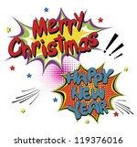 merry christmas  comic speech... | Shutterstock .eps vector #119376016
