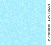 Seashell Pattern On Blue...