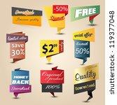 design origami stickers set.... | Shutterstock .eps vector #119377048