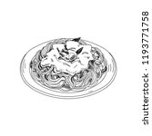 vector hand drawn spaghetti... | Shutterstock .eps vector #1193771758