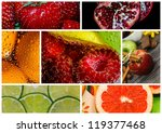 colorful healthy fruit collage | Shutterstock . vector #119377468