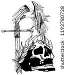 skull gothic style art  tattoo...   Shutterstock . vector #1193780728
