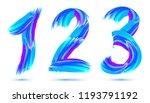 blue paint brushstrokes 1 2 3... | Shutterstock . vector #1193791192
