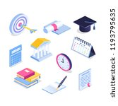 isometric education icon set....