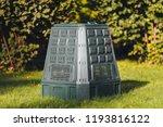compost bin on green grass and... | Shutterstock . vector #1193816122