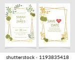 set of card with flower rose ... | Shutterstock .eps vector #1193835418