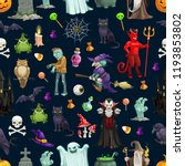 halloween pattern background of ... | Shutterstock .eps vector #1193853802