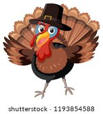 a turkey character on white... | Shutterstock .eps vector #1193854588