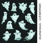 halloween ghosts and spooky... | Shutterstock .eps vector #1193859085