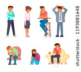depressed people icon set.... | Shutterstock .eps vector #1193881648