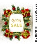 christmas sale card with gold... | Shutterstock .eps vector #1193887888