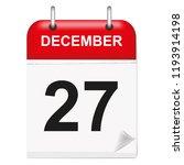 daily single leaf calendar  red ... | Shutterstock .eps vector #1193914198