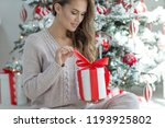 woman at christmas | Shutterstock . vector #1193925802