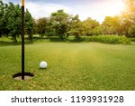white golf ball on green course ... | Shutterstock . vector #1193931928