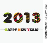 Happy new year 2013, holiday card on white - stock vector
