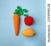 set of knitted toys lemon ... | Shutterstock . vector #1193948128