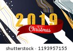2019 golden new year sign with... | Shutterstock .eps vector #1193957155