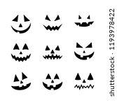 halloween pumpkin faces icons... | Shutterstock .eps vector #1193978422