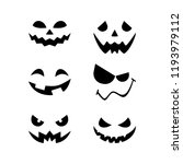 halloween pumpkin faces icons... | Shutterstock .eps vector #1193979112