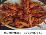 red cooked crayfish in a white... | Shutterstock . vector #1193987962