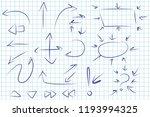 arrows doodle hand drawn set.... | Shutterstock .eps vector #1193994325