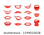set of female lips with various ... | Shutterstock .eps vector #1194015628