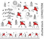 hand drawn folk art decorative...   Shutterstock .eps vector #1194027058