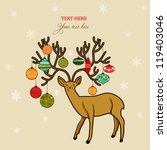Xmas holiday card with deer and Christmas ornaments on it's horns, doodled design - stock vector
